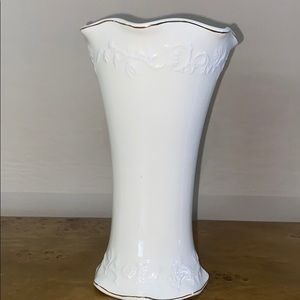 Ivory Vase with Intricate Details and Gold Trim